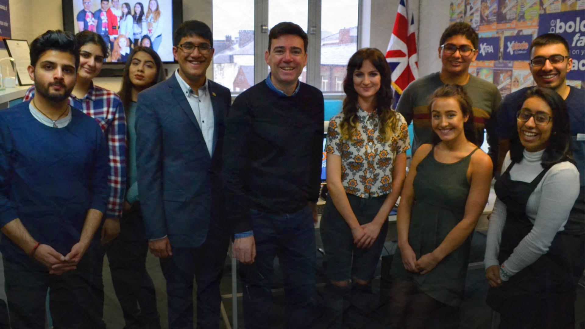 Mayor of Greater Manchester, Andy Burnham visiting Xplode Magazine HQ